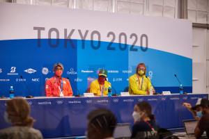 7/27 表彰式後の記者会見 五十嵐カノア、イタロ・フェレイラ、オーウェン・ライト (c)TSN/YasumaMiura